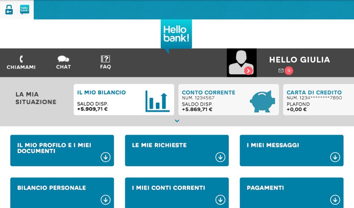 Dalla piattaforma web Hello bank! si eseguono tutte le operazioni bancarie