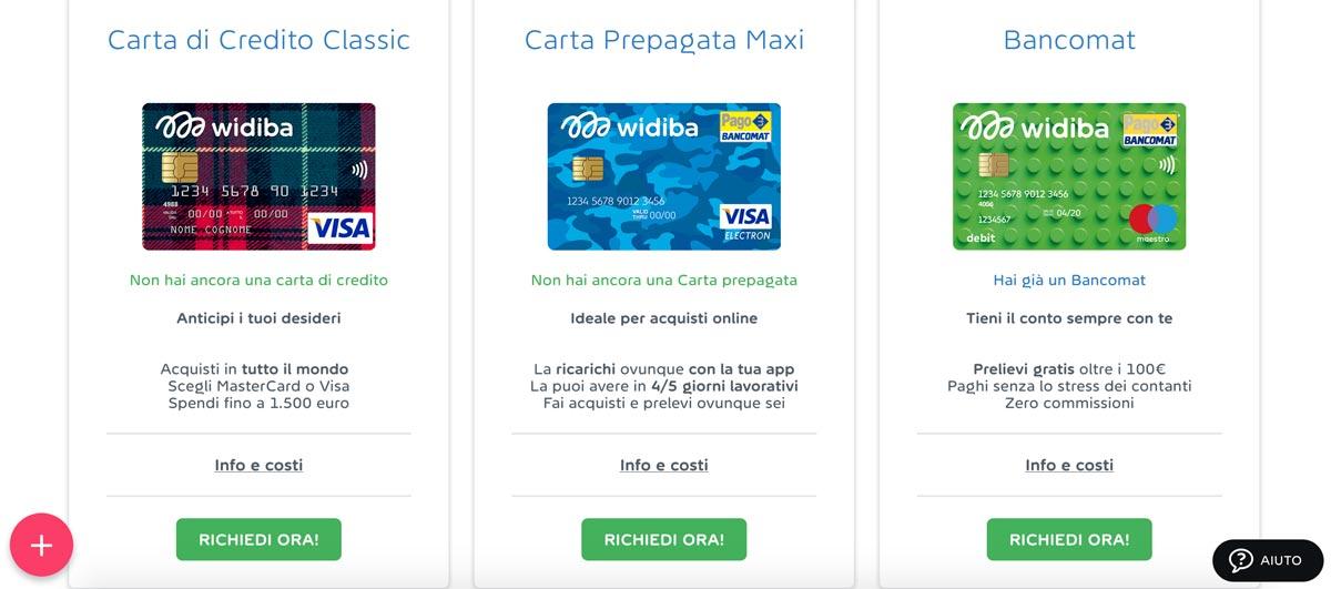 La carta di credito Widiba può essere richiesta dall'utente all'interno dell'area personale