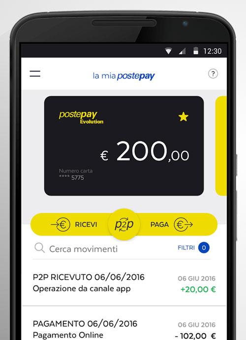 Con l'app PostePay è abilitata ai trasferimenti P2P