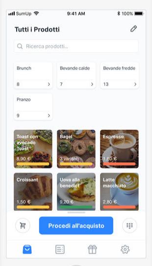 SumUp app catalogo dei prodotti