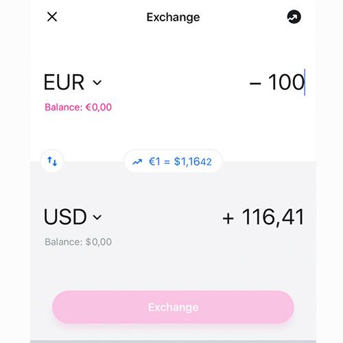 Il cambio tra valute avviene all'interno dell'app, senza commissioni