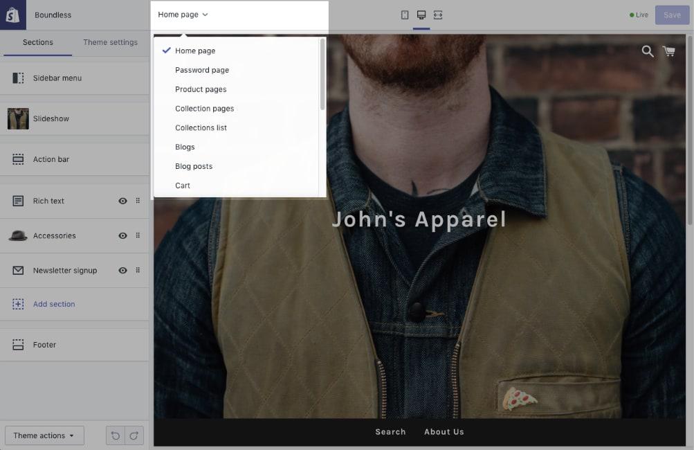 Editor negozio online su Shopify