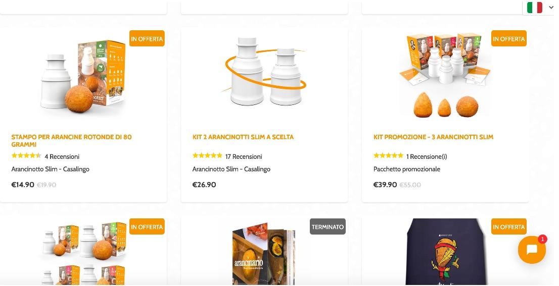 Esempio di negozio online creato con Shopify