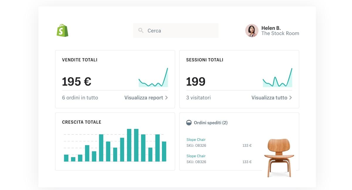 Statistiche sulle vendite con Shopify