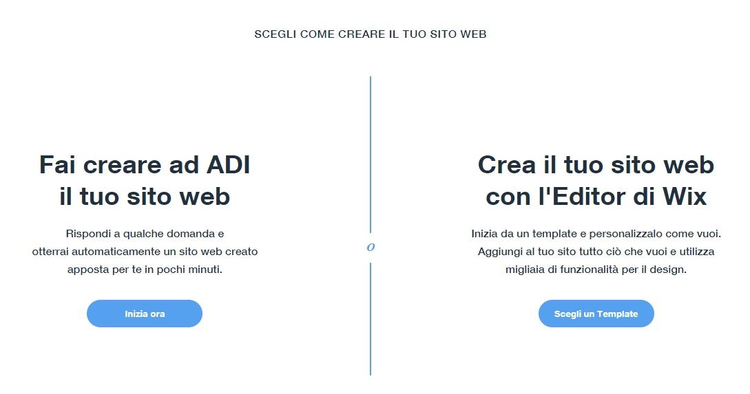 Wix ADI per la creazione rapida del sito web