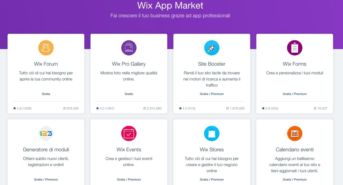 L'app market di Wix permtte di estendere le funzioni del negozio