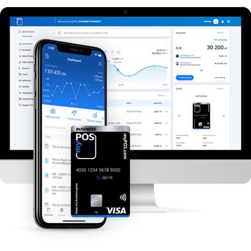 myPOS include conto esercente, terminale e carta aziendale