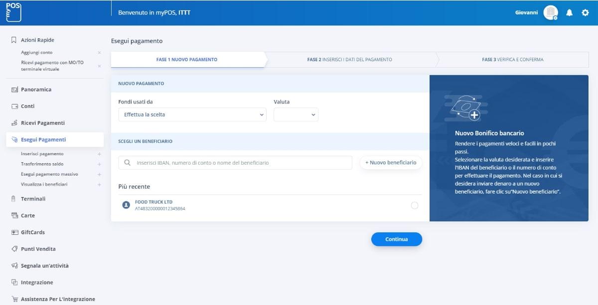 Piattaforma online myPOS