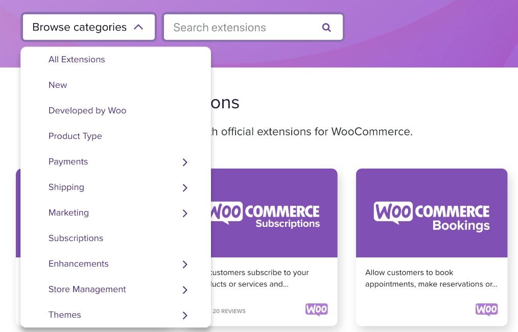 Acquisto di estensioni del plugin WooCommerce