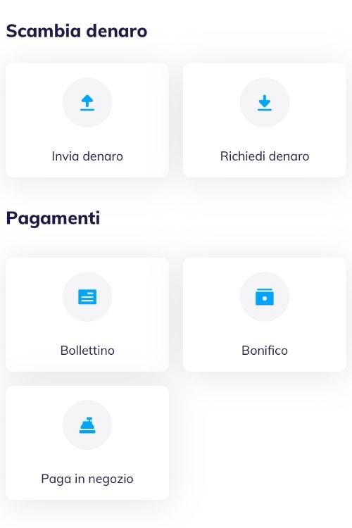Schermata pagamenti dell'app Hype