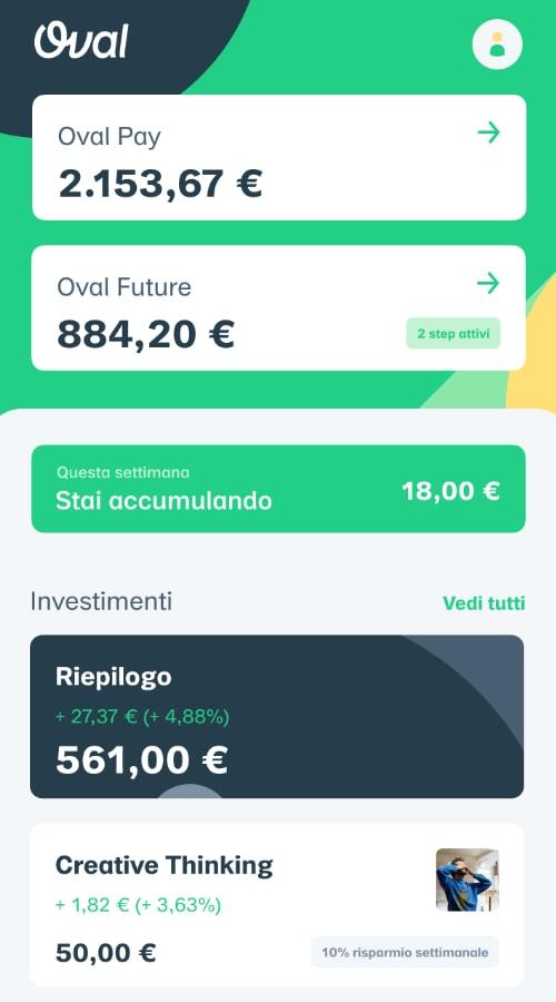Schermata principale dell'app Oval Pay