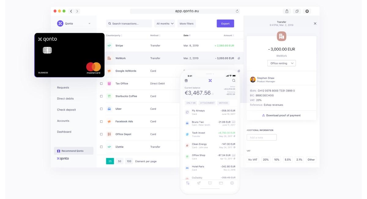 Gestione del conto aziendale via app o computer