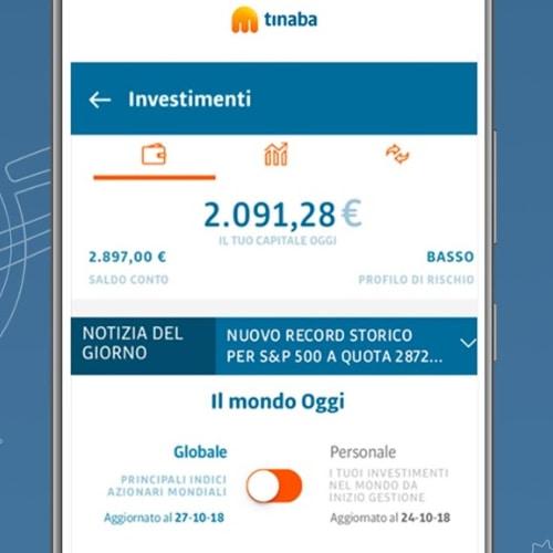 Schermata investimenti nell'app Tinaba