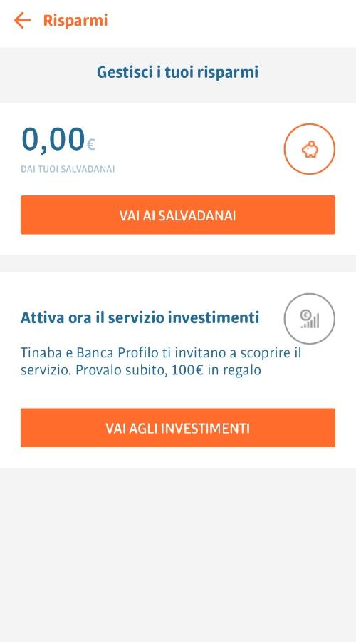Schermata investimenti app Tinaba
