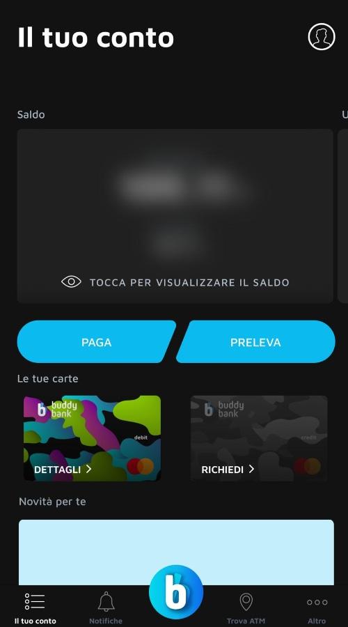 Schermata principale app Buddybank