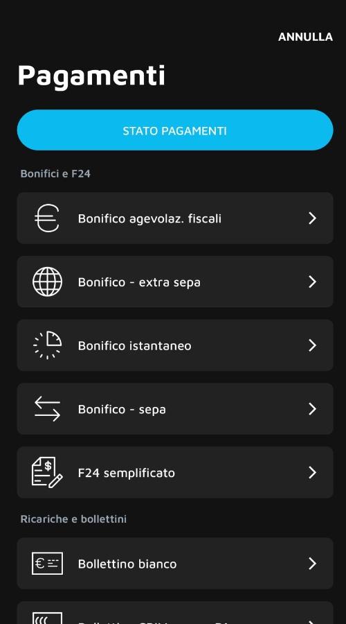 Menu operazioni app Buddybank