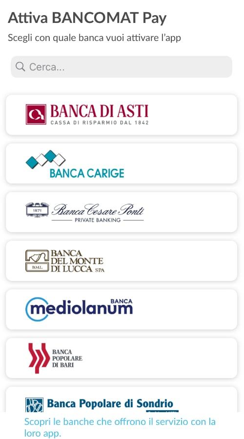 Elenco delle banche aderenti a Bancomat Pay