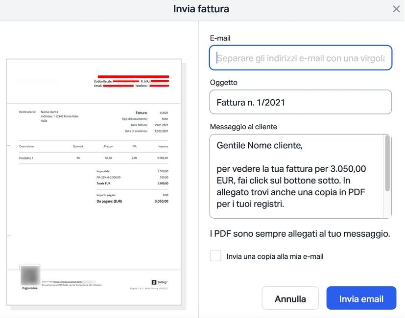 Invio fattura pdf via mail