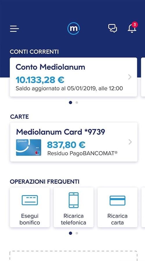 Schermata principale app Mediolanum