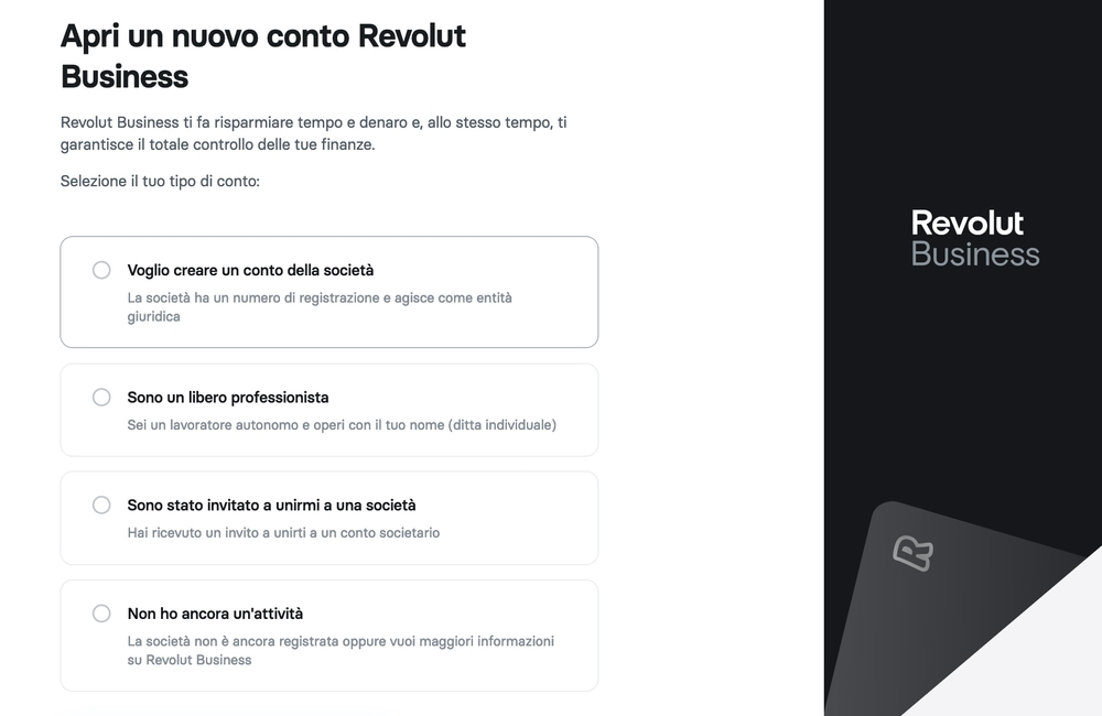 Pagina registrazione Revolut Business