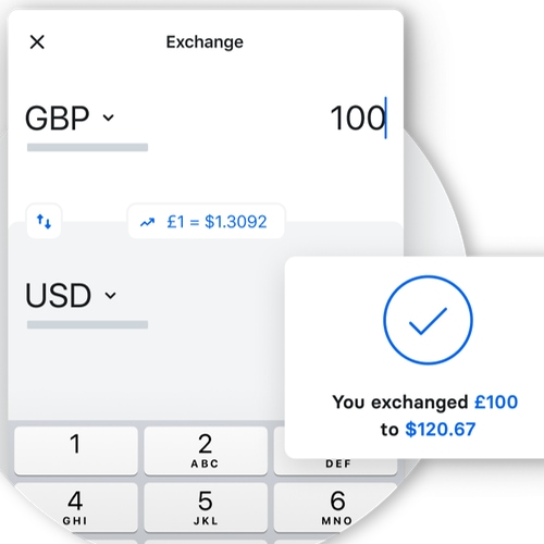 Conversione di valuta in app Revolut