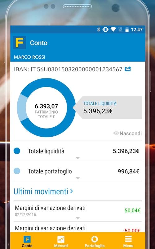 Gestione patrimonio in app Fineco