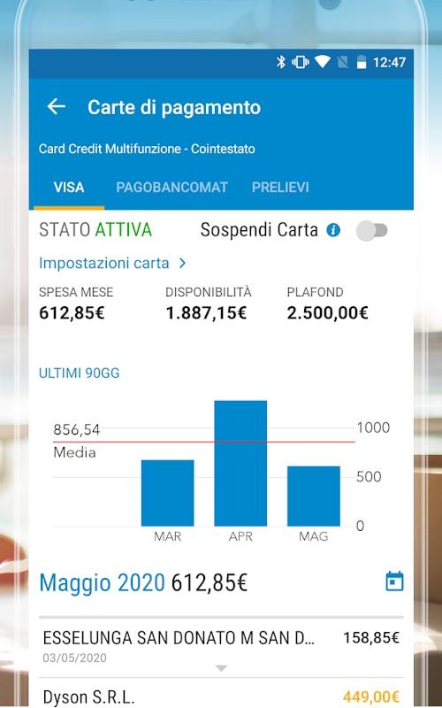 Gestione carte Fineco in app