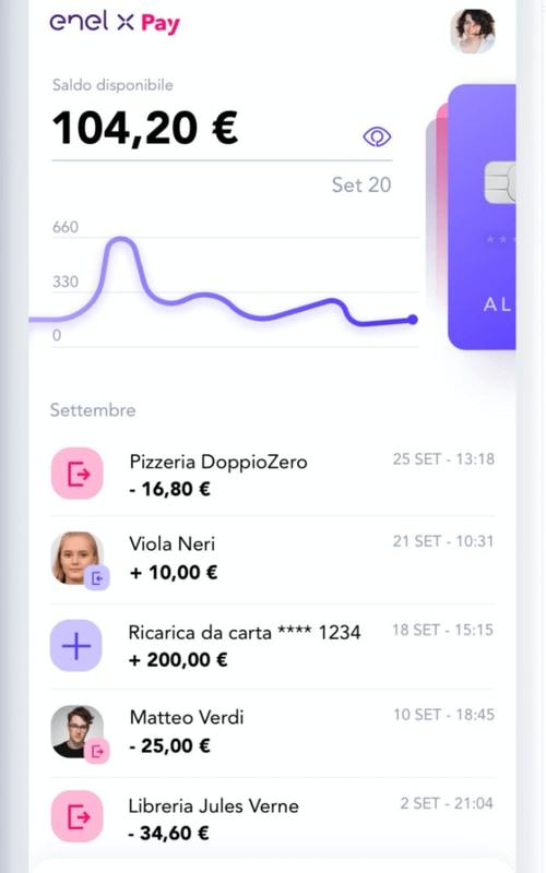 Schermata principale dell'app Enel X Pay