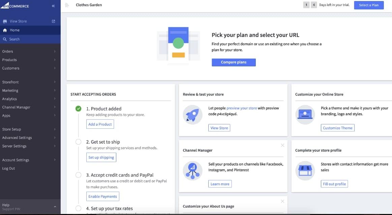Dalla dashboard di BigCommerce si può accedere a tutte le aree della piattaforma