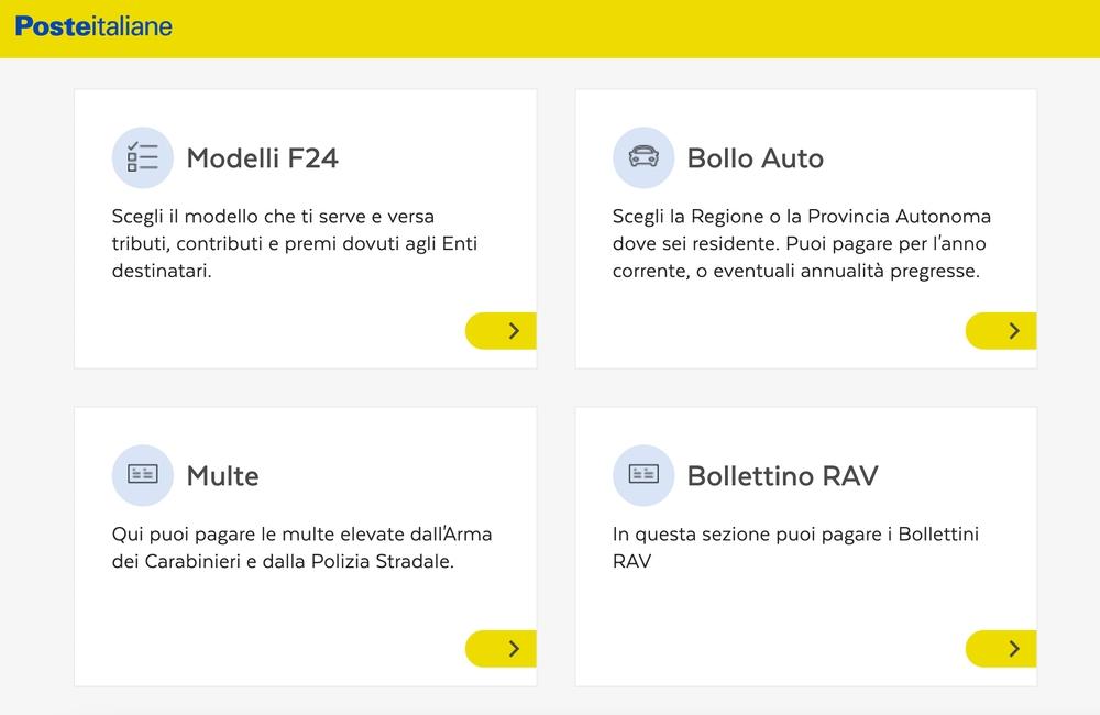 Il modello F24 può essere pagato sul sito delle Poste Italiane con carta