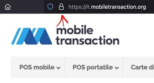 Il lucchetto a sinistra dell'indirizzo web indica la presenza del certificato SSL