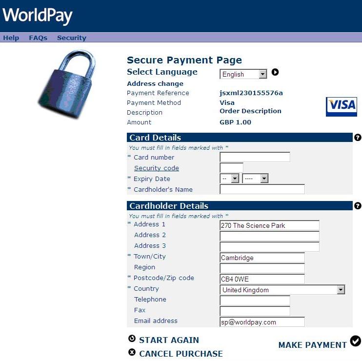 Pagina di pagamento offerta dal gestore WorldPay