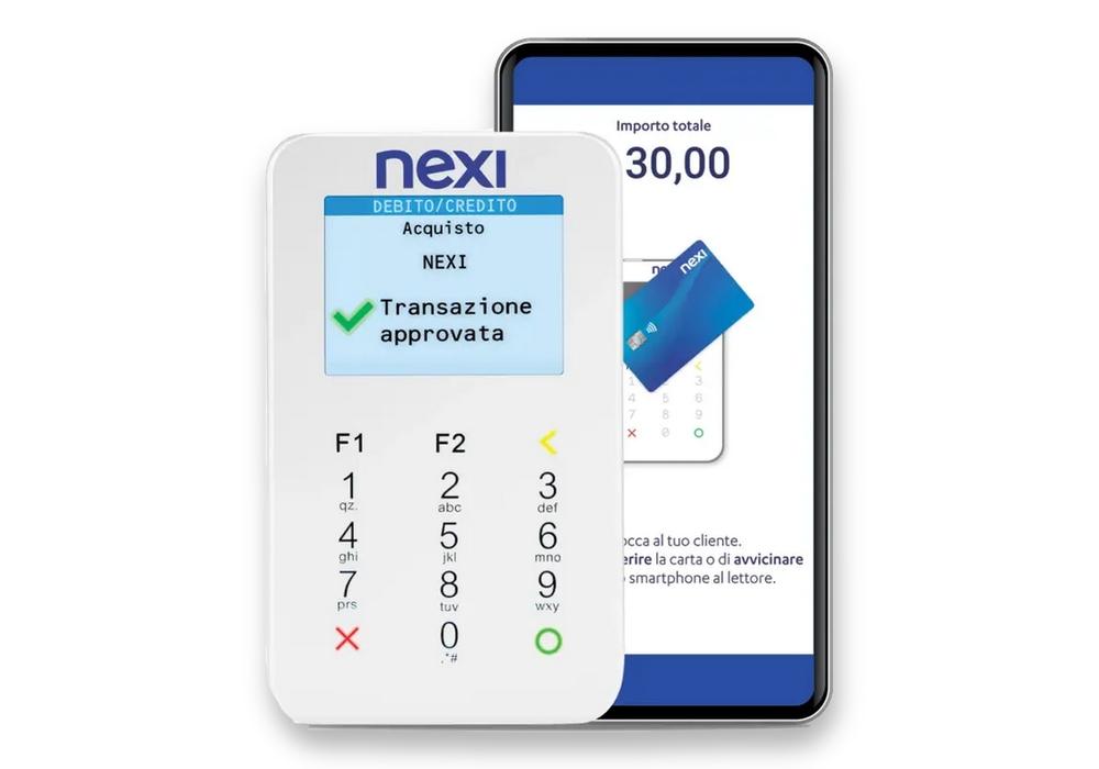 Il POS mobile MPS, fornito da Nexi, funziona collegato ad un cellulare
