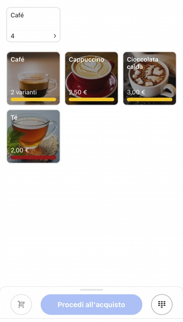 Catalogo prodotti nell'app SumUp