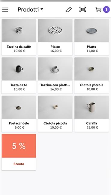 Catalogo prodotti nell'app Zettle Go